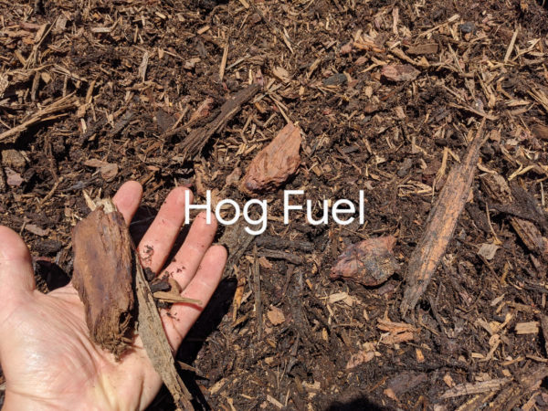 Hog Fuel bark mulch & wood chip mix for home delivery Vancouver